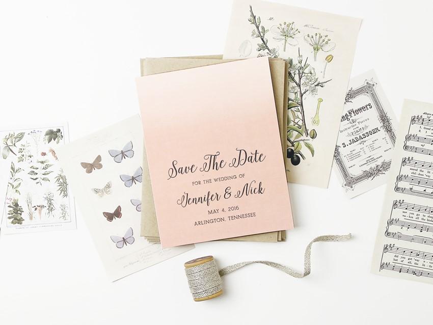 Ombre Vintage Bridal Shower Invite from Basic Invites