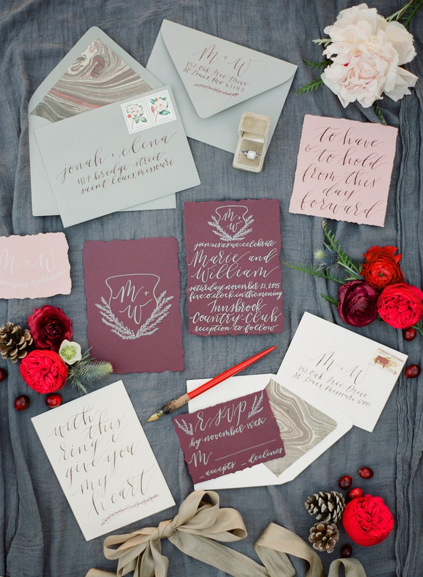 Calligraphy Wedding Stationery // Photography ~ Heather Roth Fine Art Photography