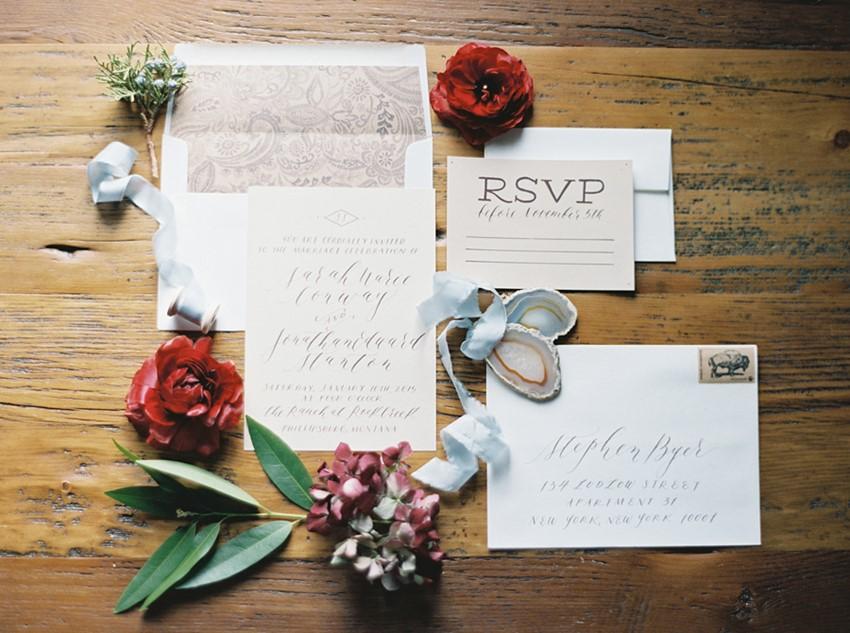 Holiday Wedding Stationery // Photography ~ Rebecca Hollis Photography