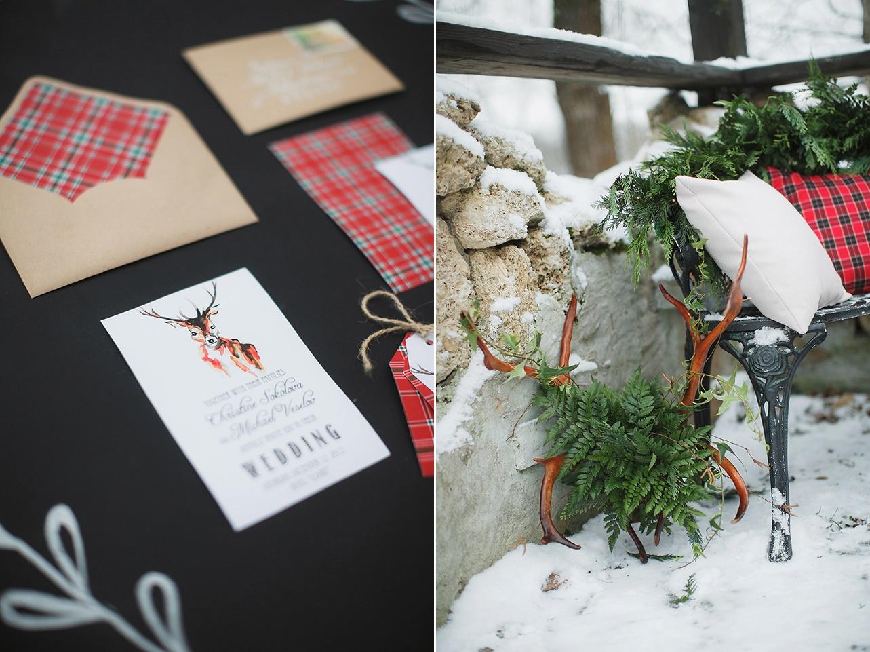 Reindeer Plaid Wedding Stationery
