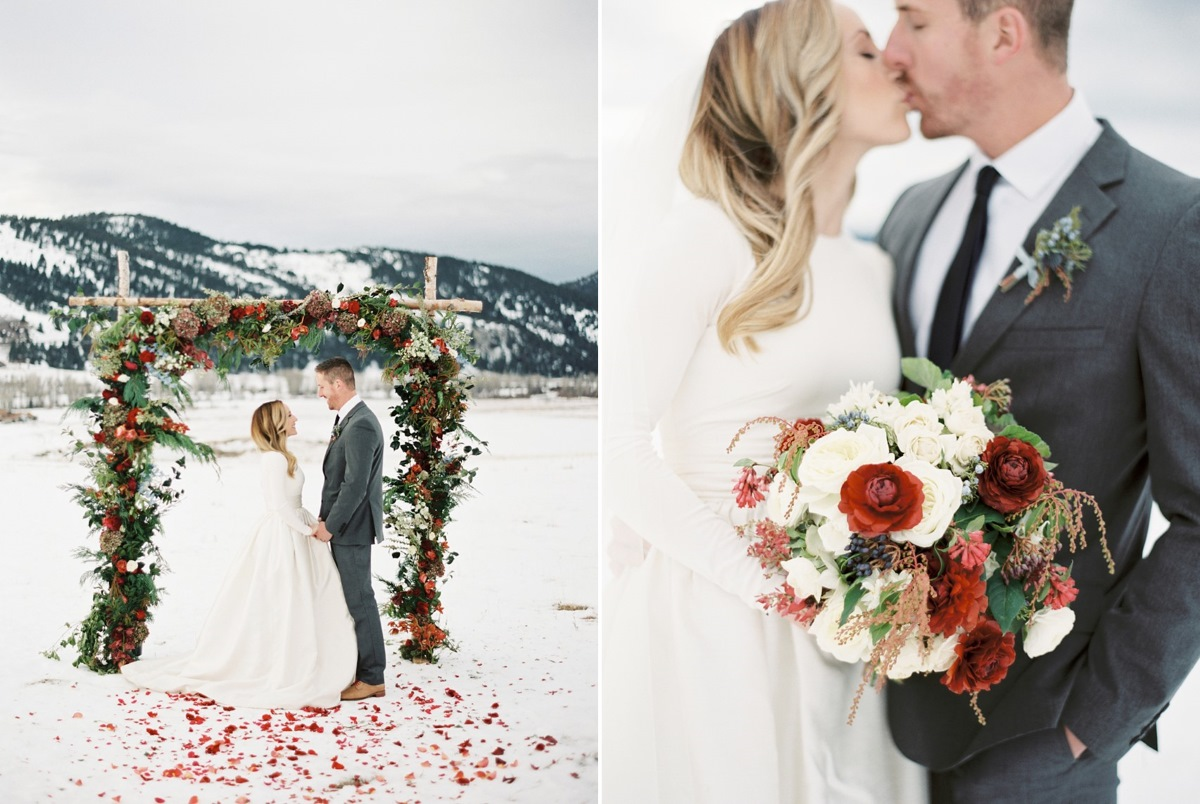 Romantic Snowy Holiday Wedding // Photography ~ Rebecca Hollis Photography