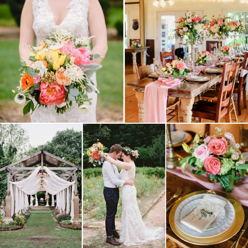 A Bright & Beautiful Boho-Vintage Garden Wedding