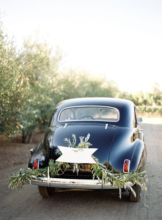 Greenery Adorned Wedding Car