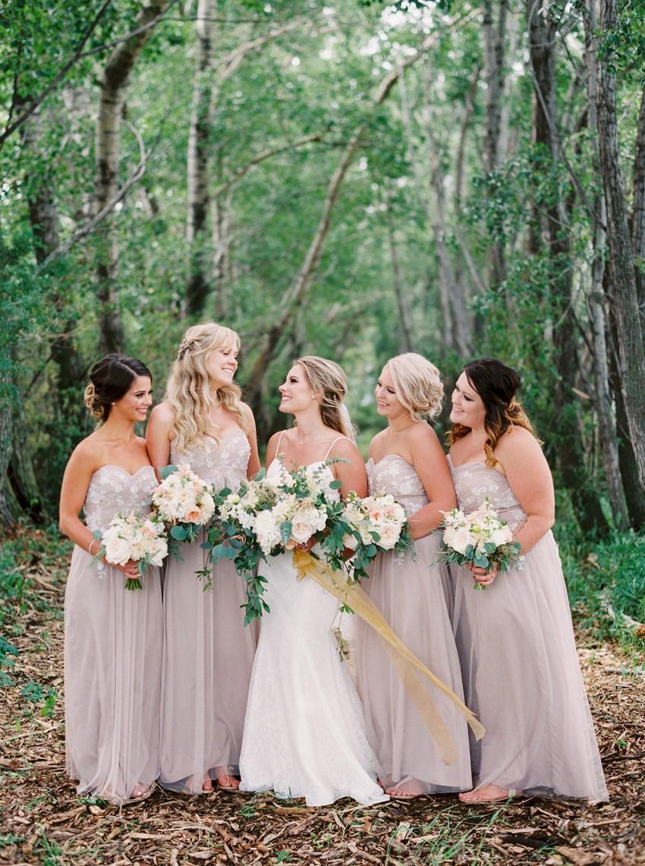 Romantic Elegant Bride & Bridesmaids in Pale Lilac