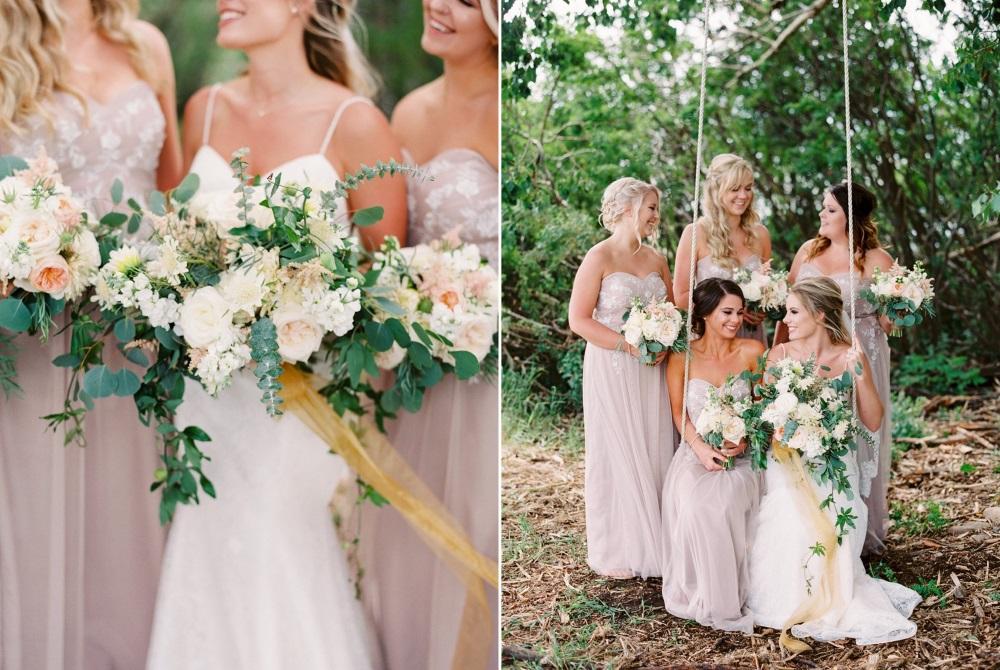 Romantic Elegant Bride & Bridesmaids in Dusky Pink