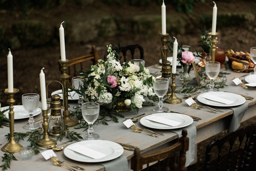 Pink & Grey Vintage Wedding Tablescape