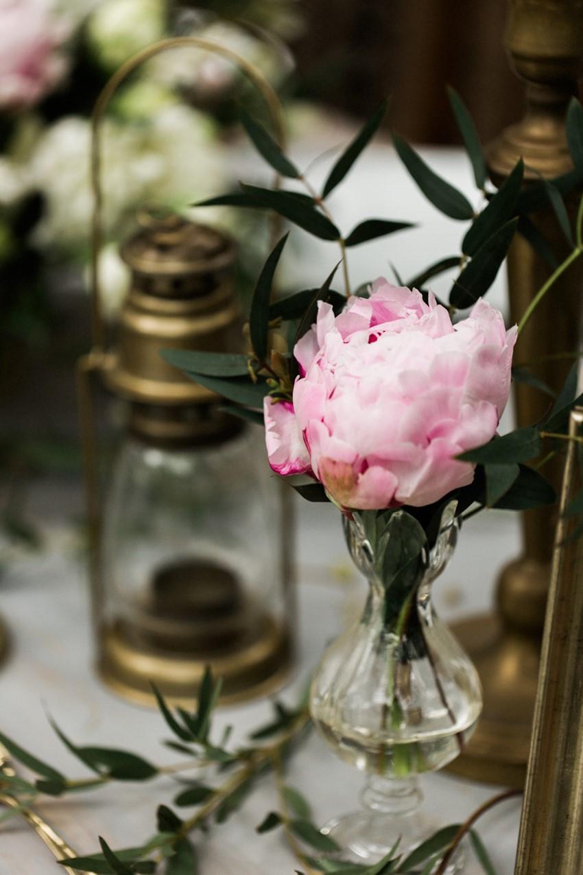 Vintage Brass & Peony Wedding Centerpiece
