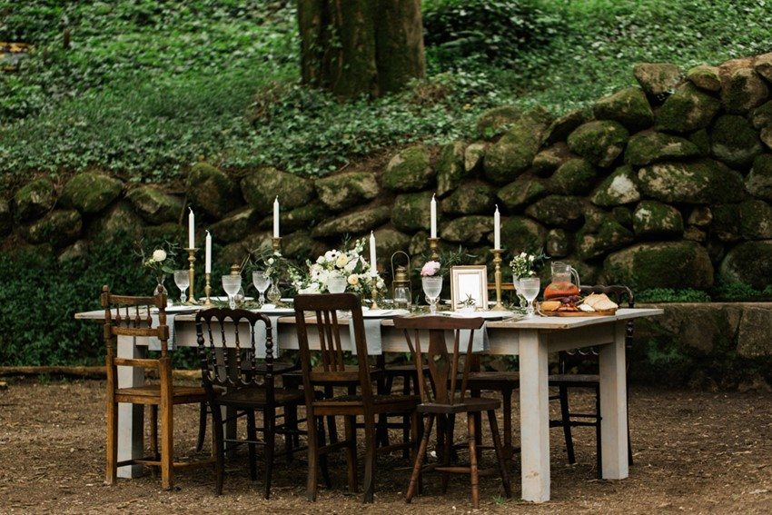 Vintage Woodland Wedding Tablescape