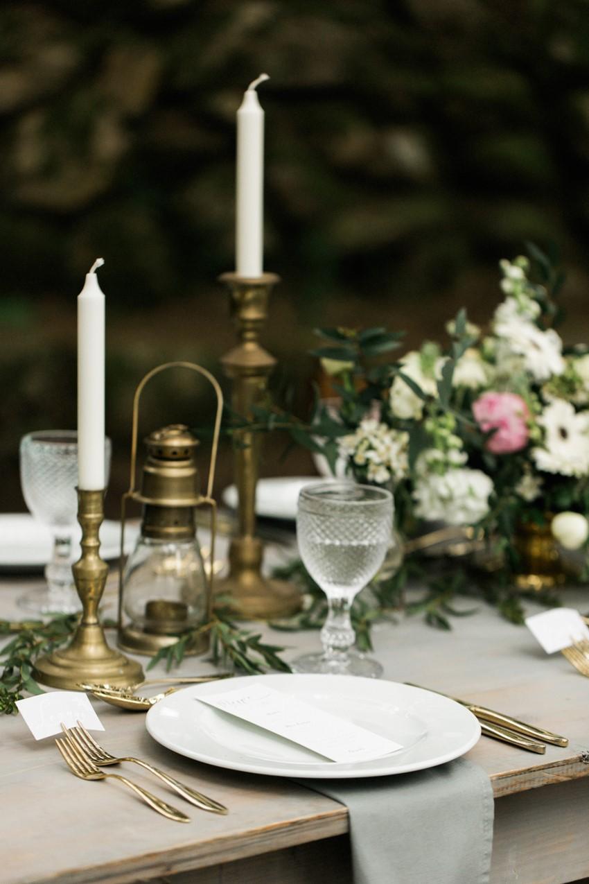 Vintage Woodland Wedding Place Setting