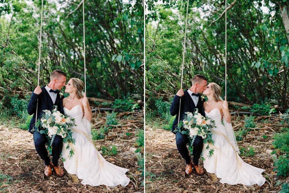 Romantic Bride & Groom Swing Photo