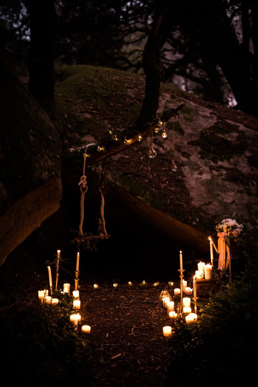 Romantic Candlelit Woodland Wedding Setting