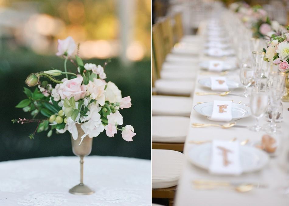 Romantic Garden Wedding Reception Centerpiece // Photography ~ Trynh Photo
