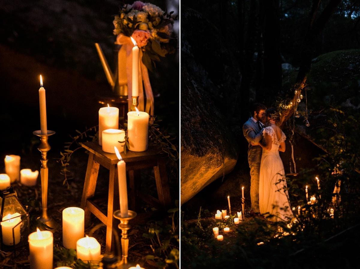 Romantic Candlelit Woodland Elopement Setting
