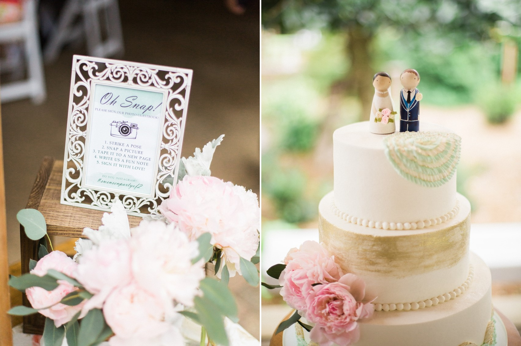 Sweet Pastel Wedding Cake with Wooden Peg Cake Toppers