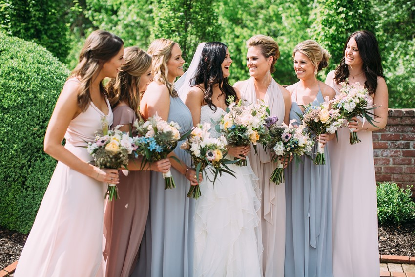 Romantic Mismatched Bridesmaids
