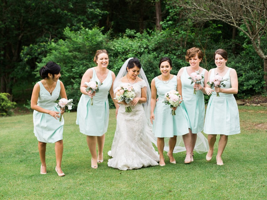 Spring Bride & Mint Bridesmaids Dresses
