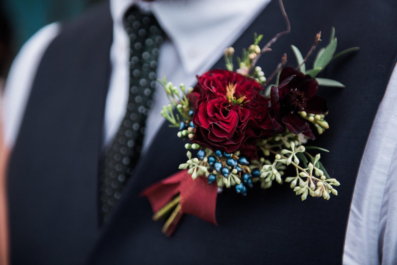 Garnet Floral Boutonniere