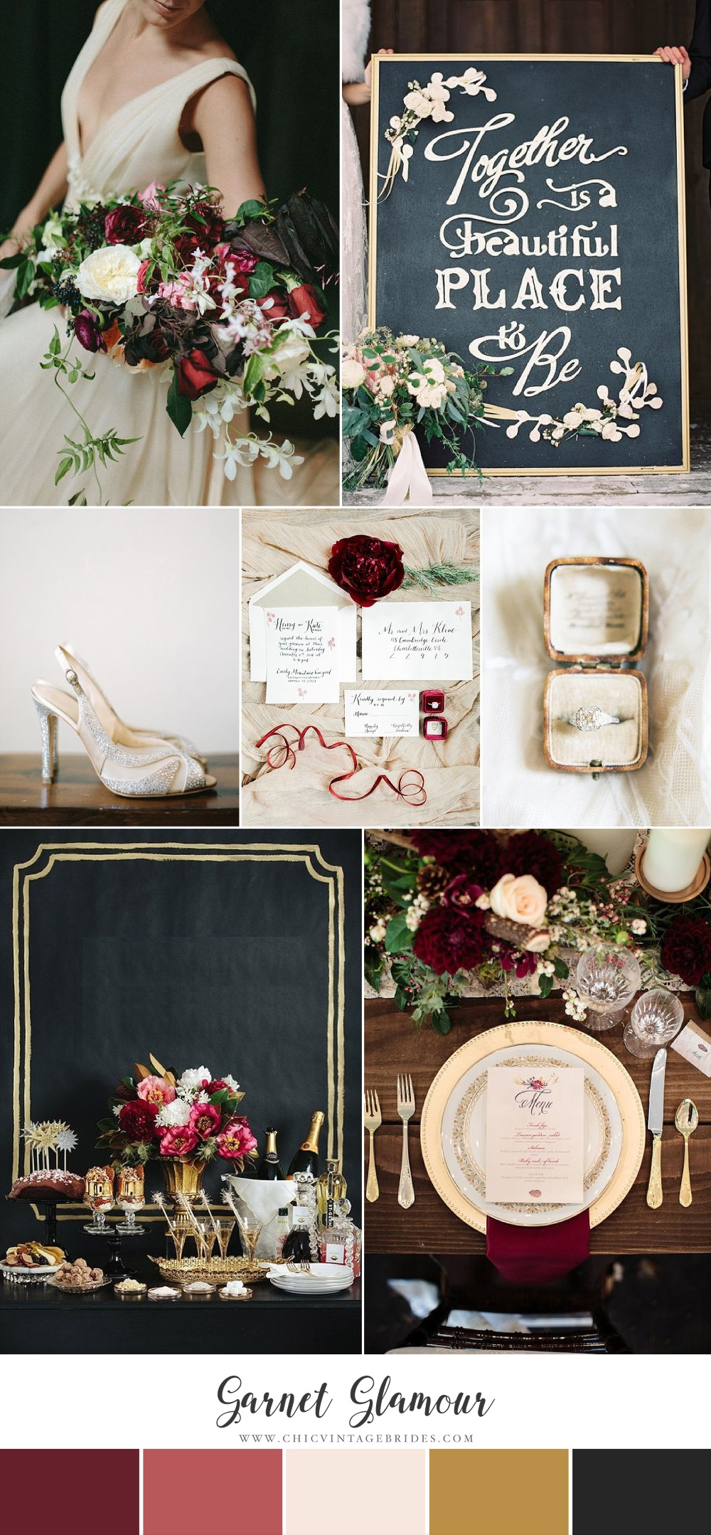Garnet Glamour - Glittering Winter Wedding Inspiration in Garnet & Gold
