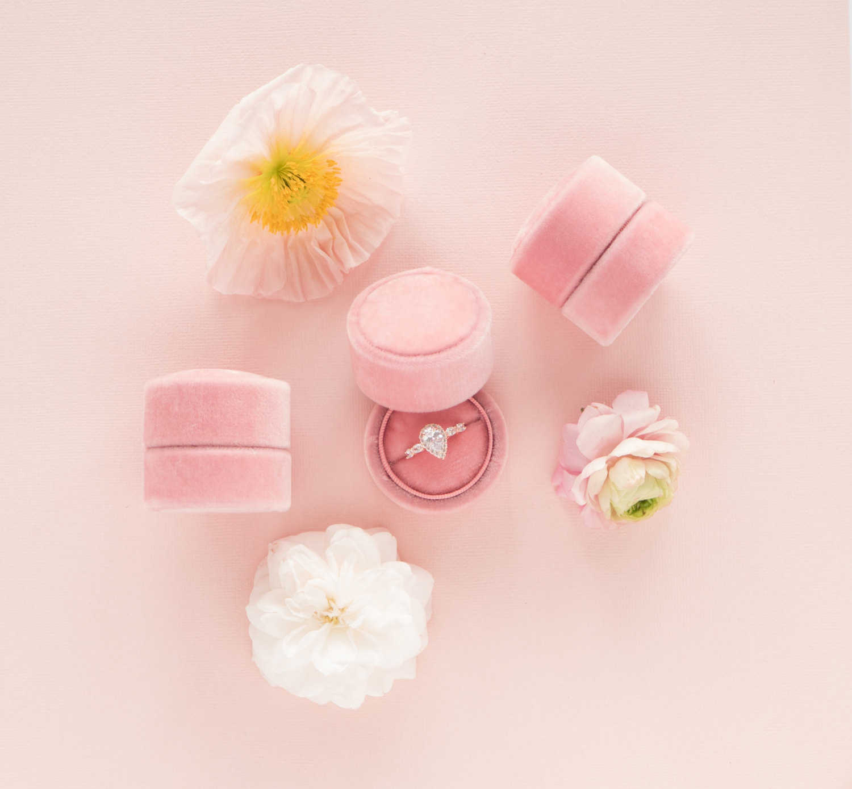 Pink Velvet Engagement Ring Box