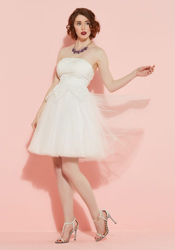 'Tulle Love and Cherish' Lace Short Wedding Dress
