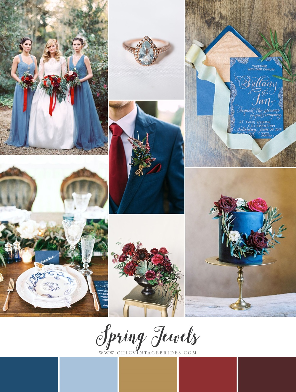 Spring Jewels - Rich Rustic Wedding Inspiration in Garnet & Blue