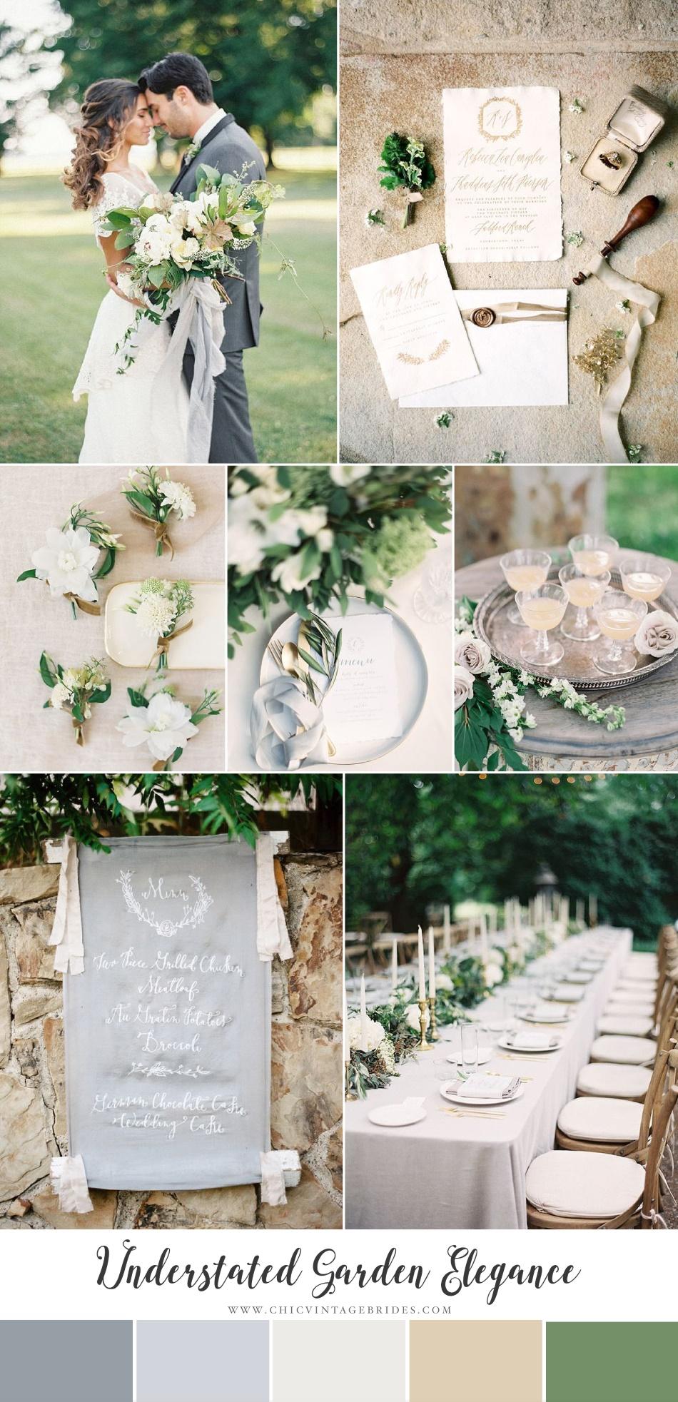 Understated Garden Elegance - Modern Vintage Wedding Inspiration in Green, Grey & Sunstone