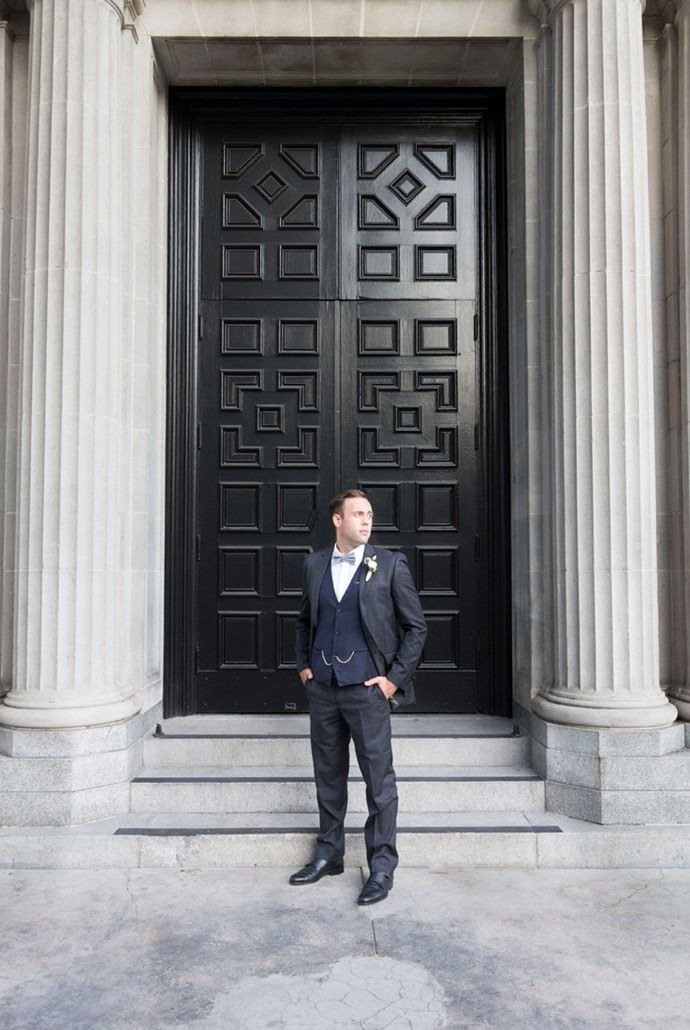 Vintage Inspired Groom in a Navy 3 Piece Suit