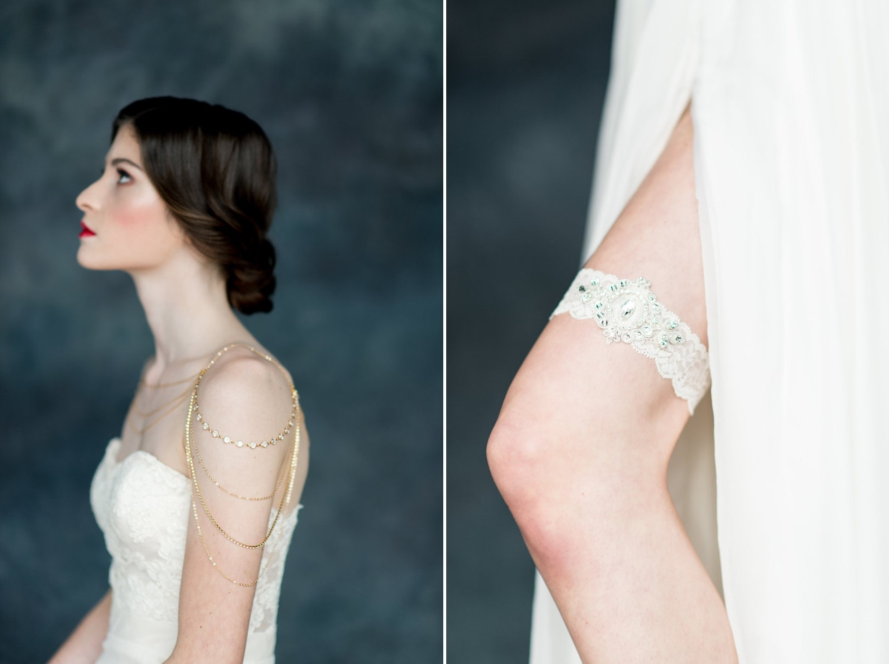 Shoulder Jewelry & Bridal Garter from Blair Nadeau Indigo & Lucinda