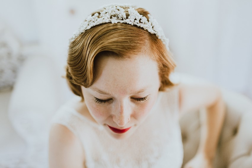 Vintage Wax Flower Bridal Crown