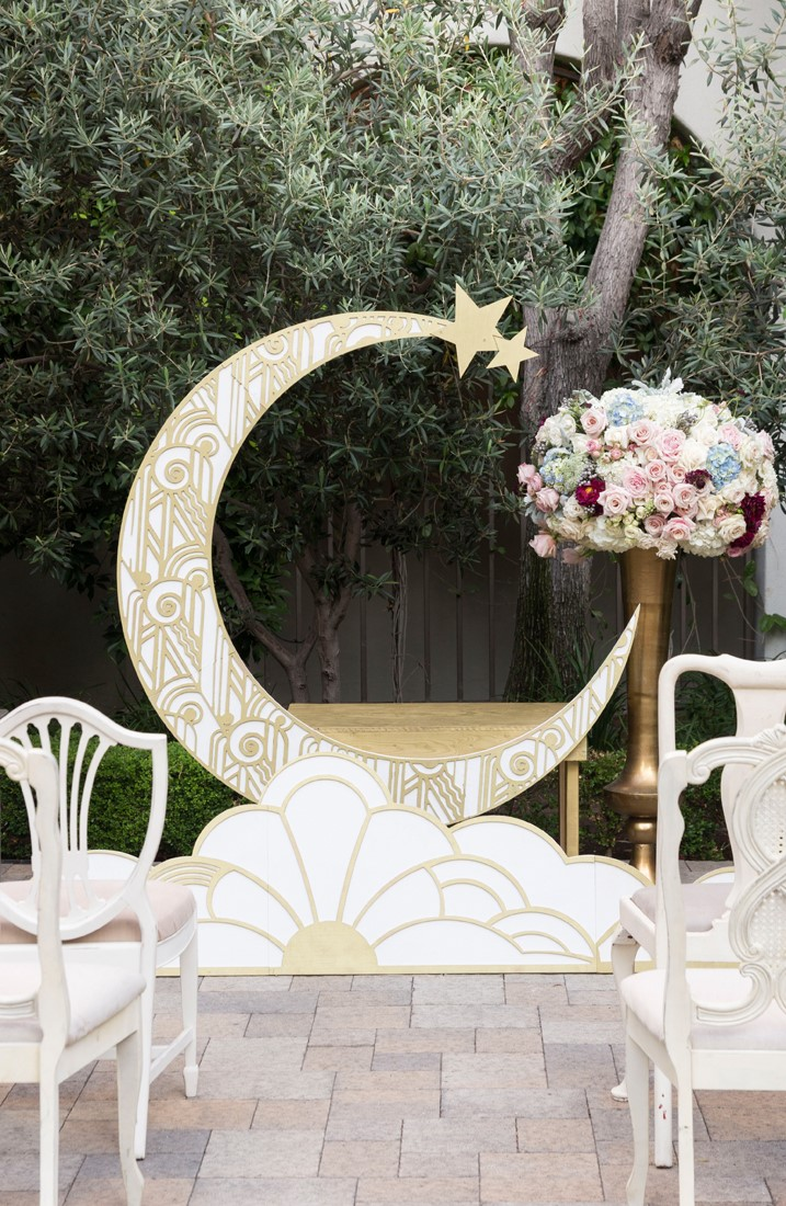 1920s Inspired Wedding Ceremony with a Paper Moon Backdrop
