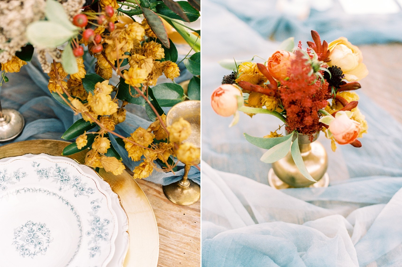 Winter Wedding Centerpiece in Blue, Gold & Orange