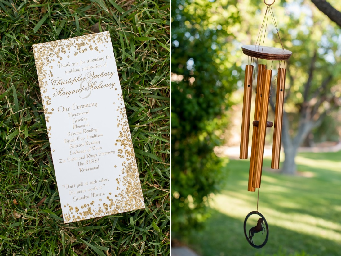 Wind Chimes Honoring Lost Ones at a Wedding