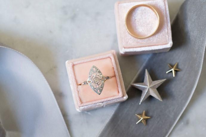 Art Deco Engagement Ring in a Velvet Vintage Ring Box