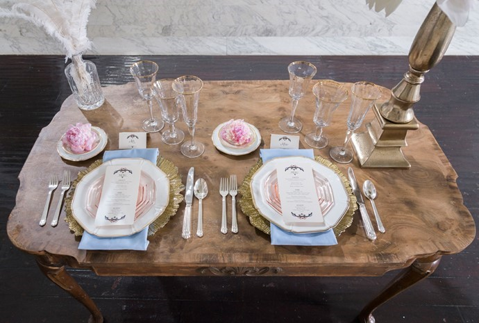 Romantic Art Deco Wedding Place Settings