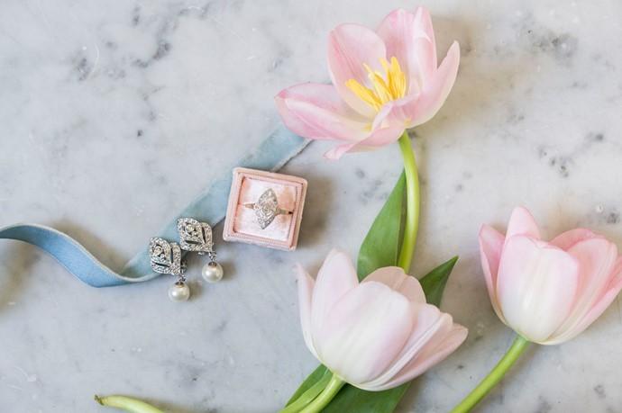 Vintage Engagement Ring and Velvet Ring Box