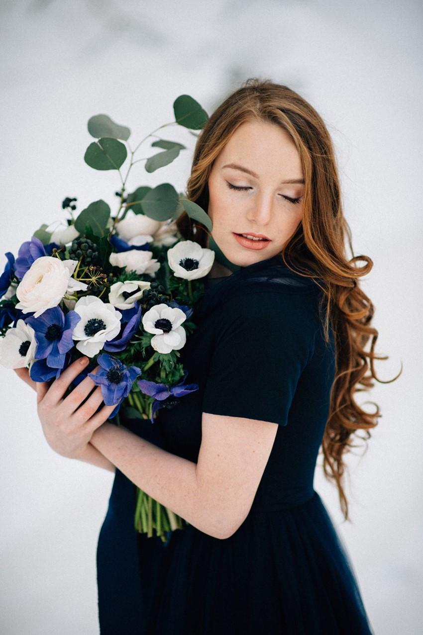 Blue & White Anemone Bridal Bouquet