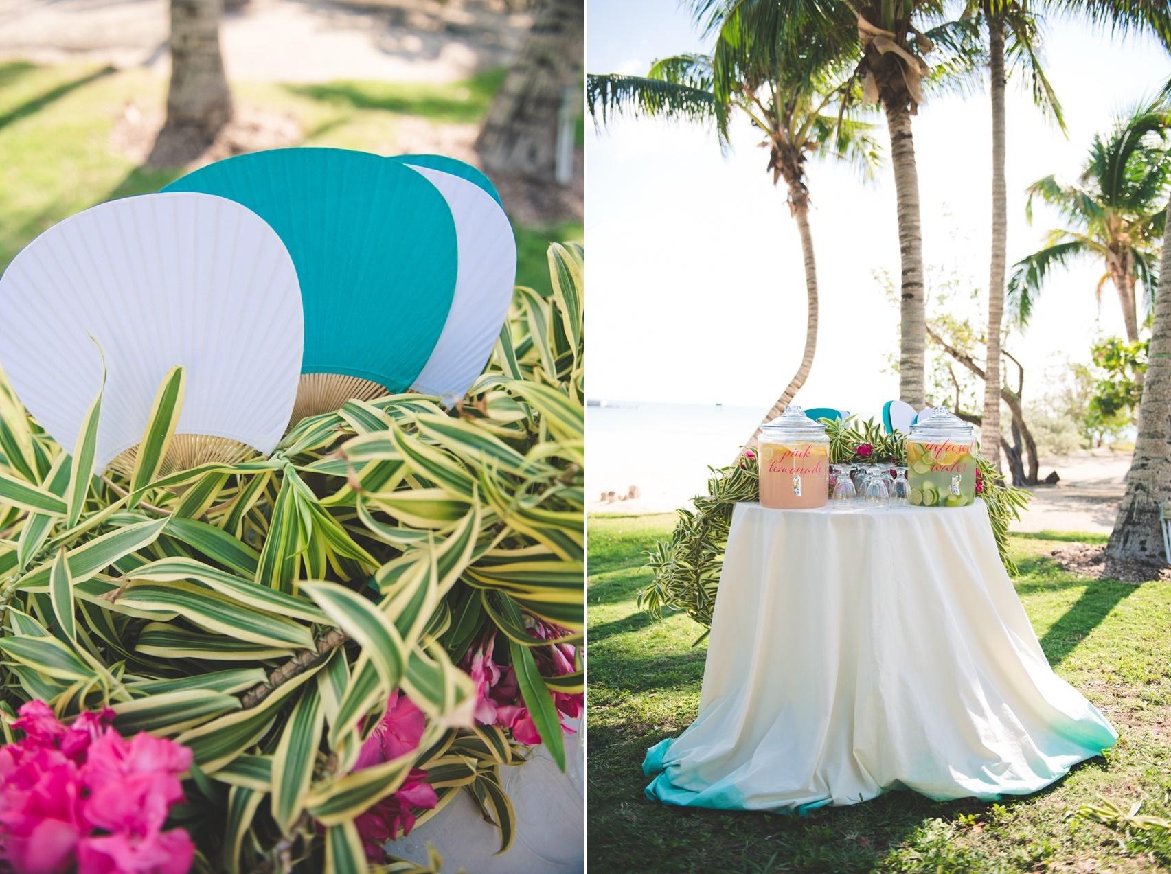 Beach Wedding Fans & Drink Station