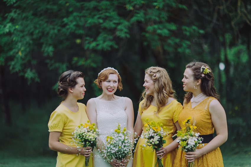 Vintage Bride & Bridesmaids in Yellow