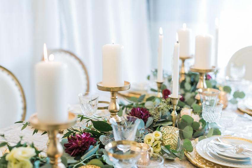 Romantic Garnet & Gold Wedding Tablescape