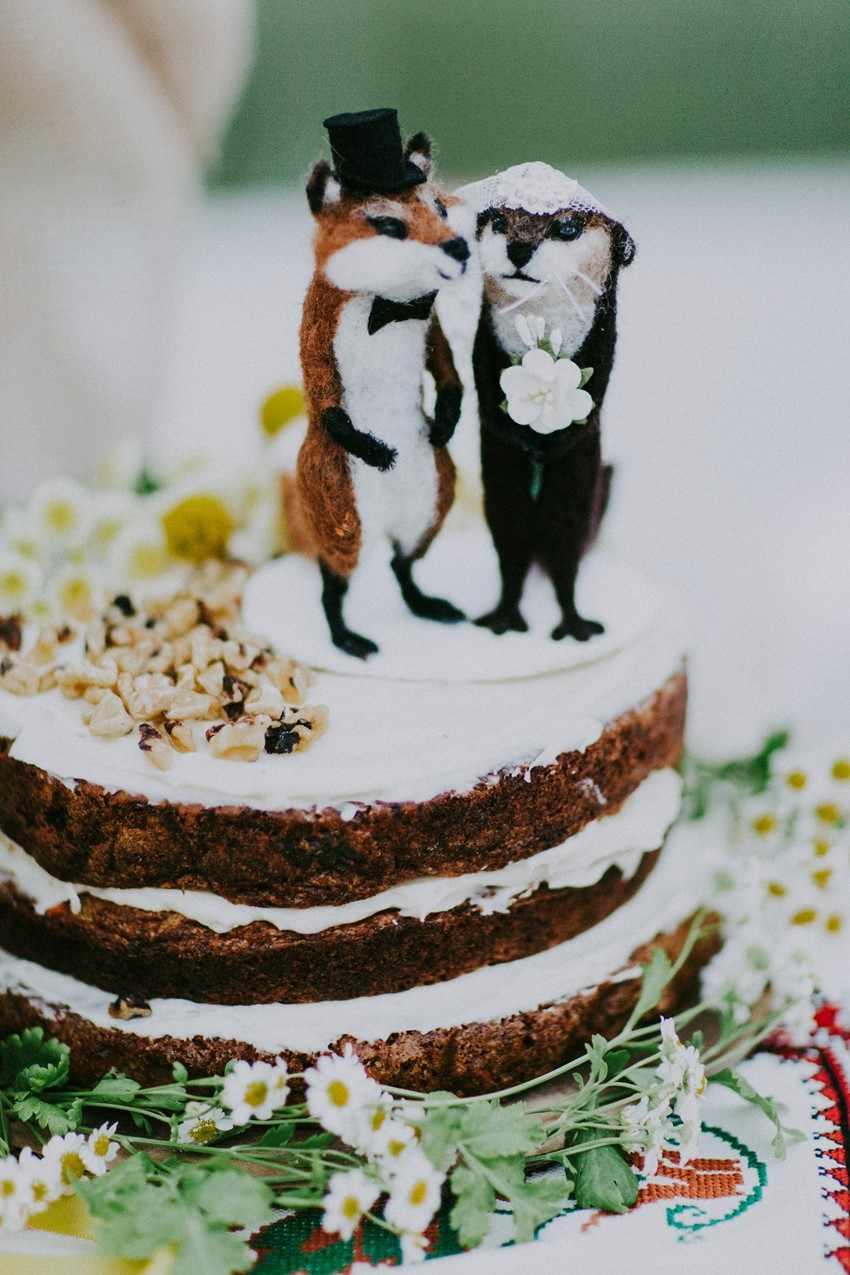 Felt Animal Wedding Cake Topper