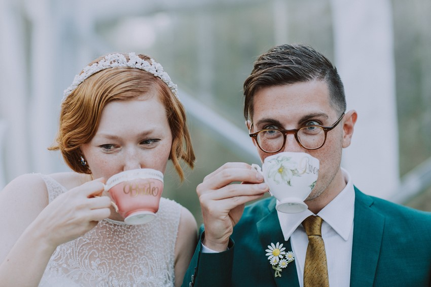 Bride & Groom Drinking Tea
