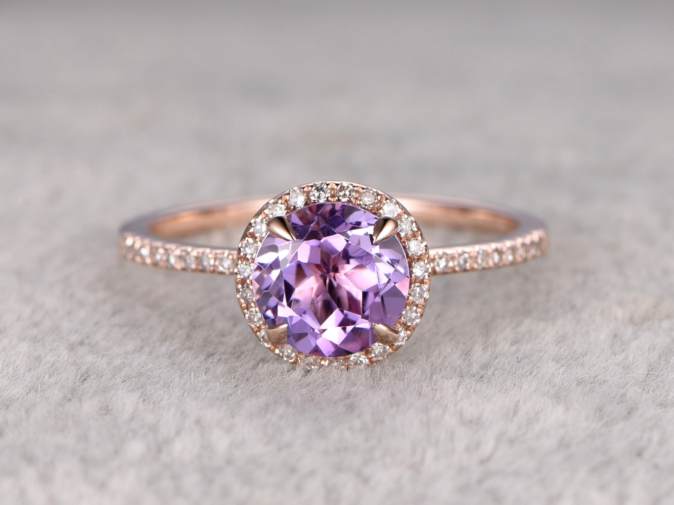 Stunning Amethyst Halo Engagement Ring