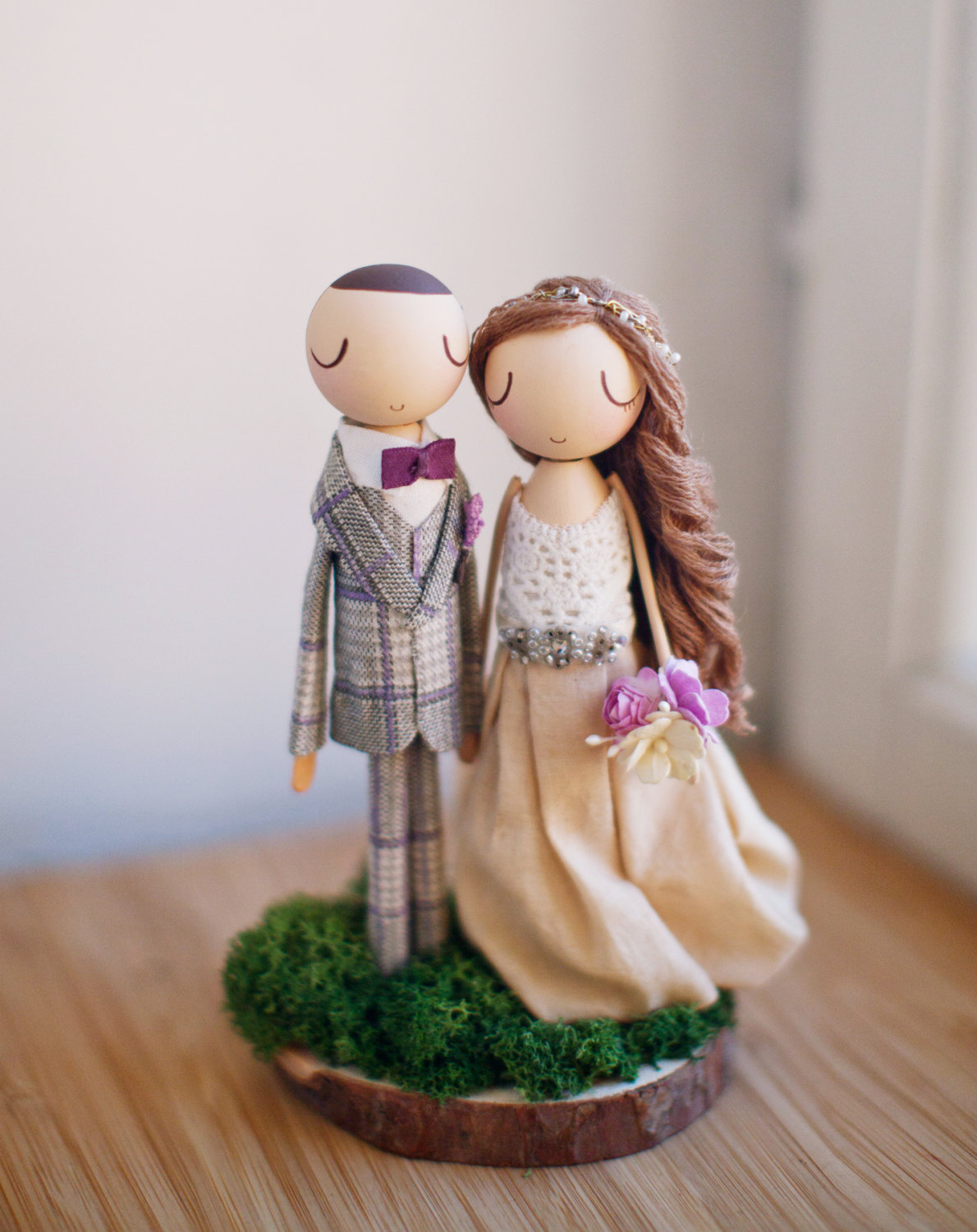 Amethyst Rustic Boho Wedding Cake Topper