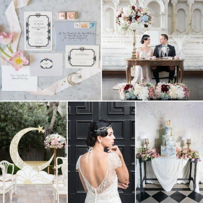 Art Deco Moon Wedding Inspiration in Rose Quartz & Serenity