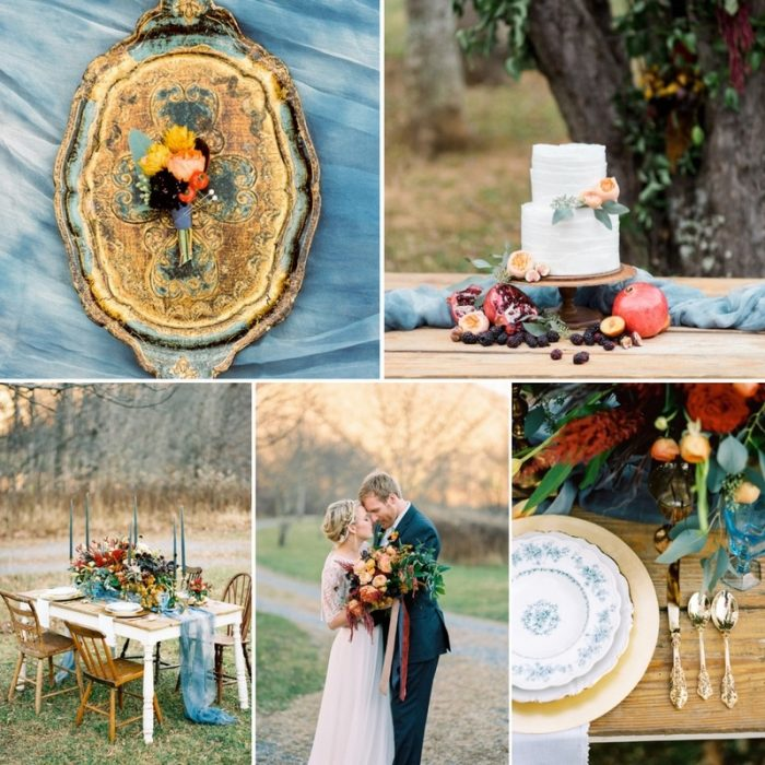 Vibrant & Romantic Winter Wedding Inspiration in Blue, Gold & Orange