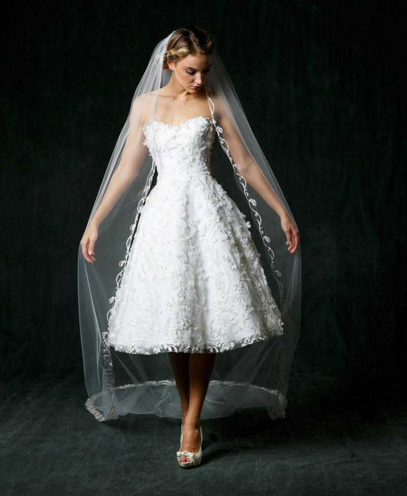 Floral Applique Tea Length Wedding Dress - Sareh Nouri