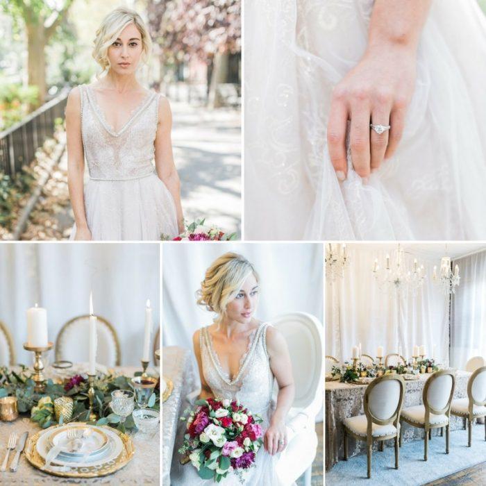 Timelessly Romantic Wedding Inspiration in Garnet & Gold