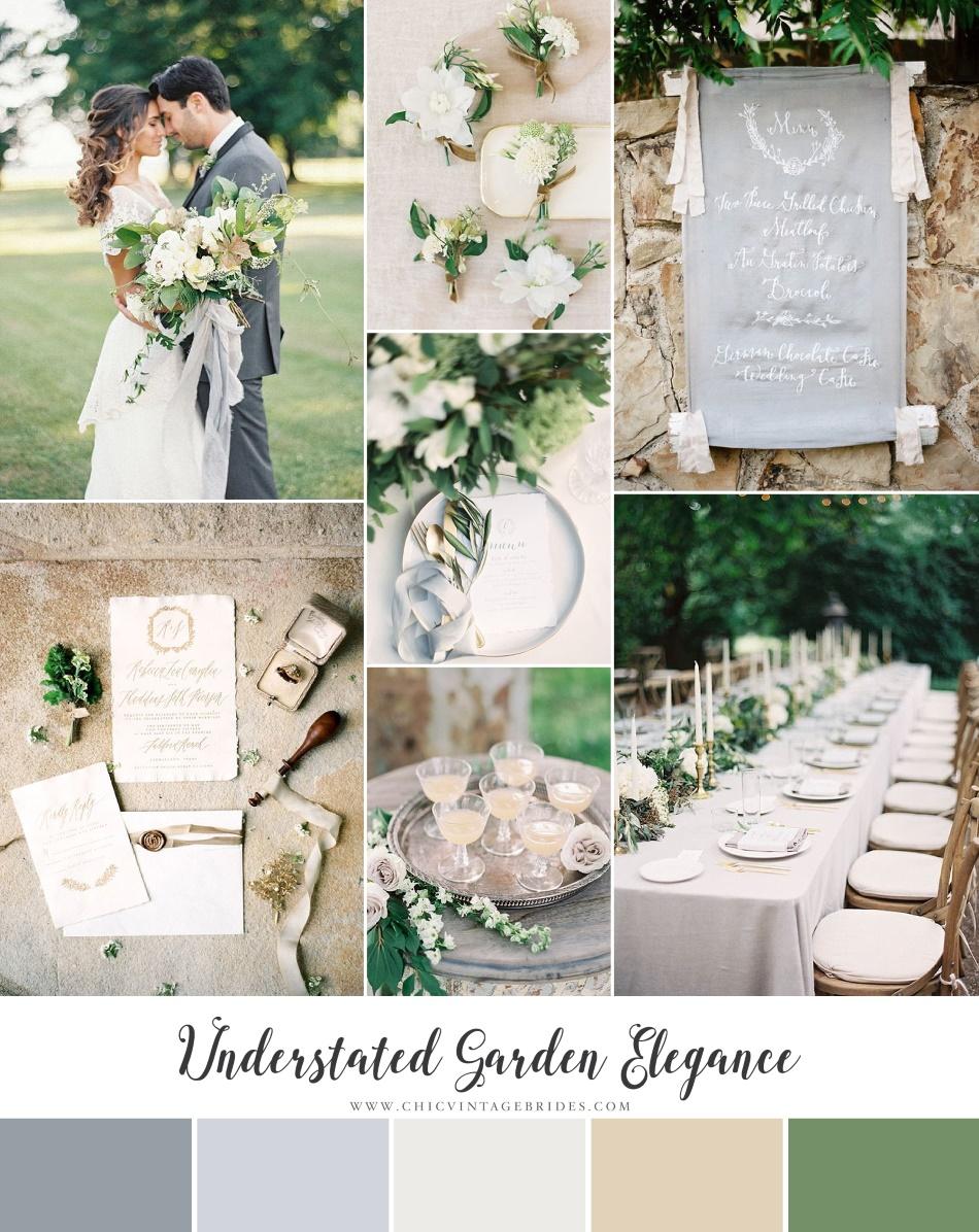 Understated Garden Elegance Modern Vintage Wedding Inspiration In Green Grey Sunstone