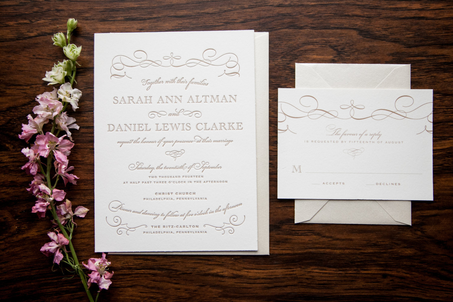 Classic Swirl Letterpress Wedding Invitations