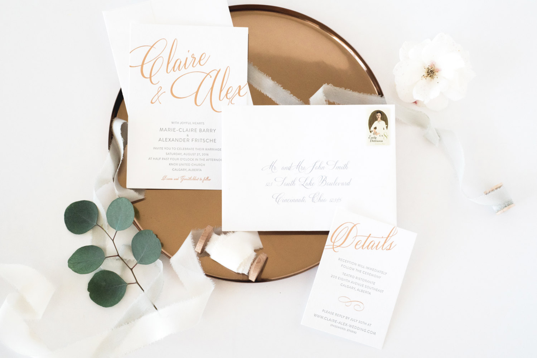 Gold Foil Letterpress Wedding Invitation